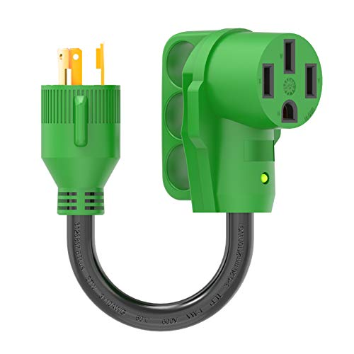 RVGUARD 3 Prong 30 Amp to 50 Amp RV Generator Adapter Cord 12 Inch, STW 10/3, L5-30P Locking Male Plug to 14-50R Female with LED Power Indicator, Green
