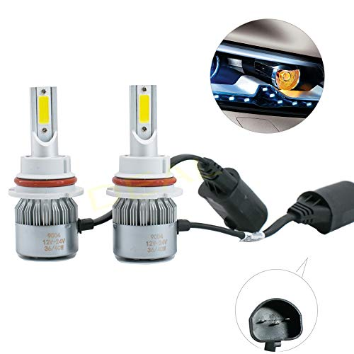 DEAL AUTO ELECTRIC PARTS 2pcs 9004/HB1 6000K White 7200LM Aluminum Housing LED COB Bulbs Conversion Kit For Headlights High Low Dual Beam DC 12V/24V IP67 Waterproof Pack of 2 Left+Right Replacement