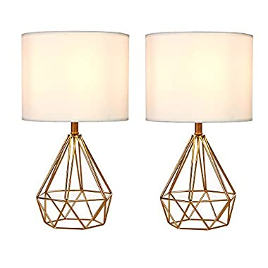 SOTTAE Golden Hollowed Out Base Modern Lamp Bedroom Livingroom Beside Table Lamp, 16  Desk Lamp With White Fabric Shade(Set of 2)