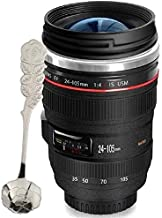 Camera Lens Coffee Mug Simple Modern's Leakproof Tumbler Cups with Lucency Lid+Premium Spoon,Stainless Steel SLR Thermos Mugs Great Gift for Photographers,Friends,Colleague,Lover - Chasing Yec