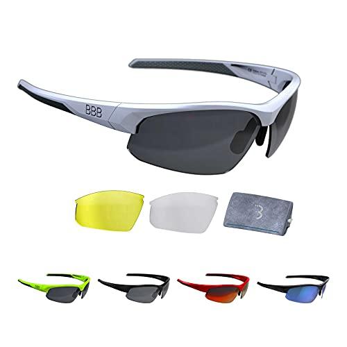 BBB Cycling Fahrradbrille Impress | Herren und Damen Sportbrille Sonnenbrille Radsport | mit Wechselgläsern | Polycarbonat | MTB Rennrad Urban | Matt Weiß M | BSG-58