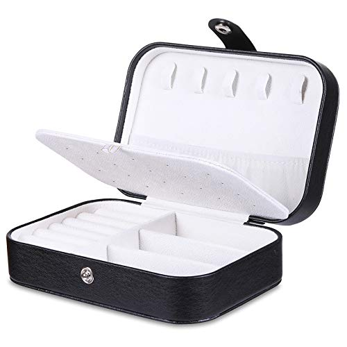 misaya Travel Jewelry Case Box Women PU Leather 2 Layer Jewelry Organizer Holder for Necklace Earring Rings, Black