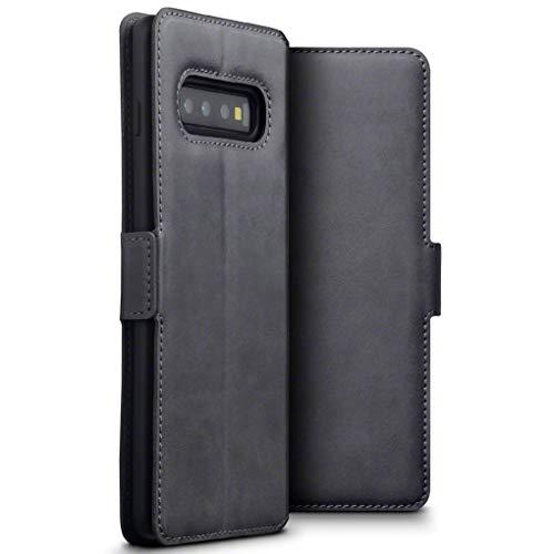 TERRAPIN, Kompatibel mit Samsung Galaxy S10 Plus Hülle, Premium ECHT Spaltleder Flip Handyhülle Samsung Galaxy S10 Plus Tasche Schutzhülle - Grau