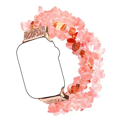 Kompatibel mit Apple Watch Series 5/4 40mm Armband, Qianyou Elegant Natürlich Steine Perlen Ersatzarmband Damen Frauen Elastisch Sportarmband Fitness Uhrenarmband Strap für 6.1-9.9 Zoll/Rot