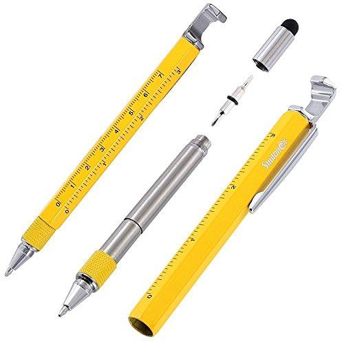 Shulaner 7 in 1 Tech Tool Pen mit Lineal, Flaschenöffner, Telefon Ständer, Kugelschreiber, Eingabestift und 2 Schrauber, Multifunktions Werkzeug Passform für herren vatertag geschenk gelb