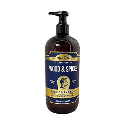 HOPIFICIO – Luxury Liquid Hand Soap: Hypoallergenic, Sulfate-free, Regenerating, Moisturizing & Gently Cleansing Liquid Soap, 16.9 Fl Oz (Wood & Spices)