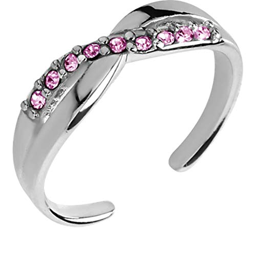 Ani's Anillo de 0,7 quilates redondo con piedras preciosas rosas Sim diamante ajustable en oro blanco de 14 quilates 925