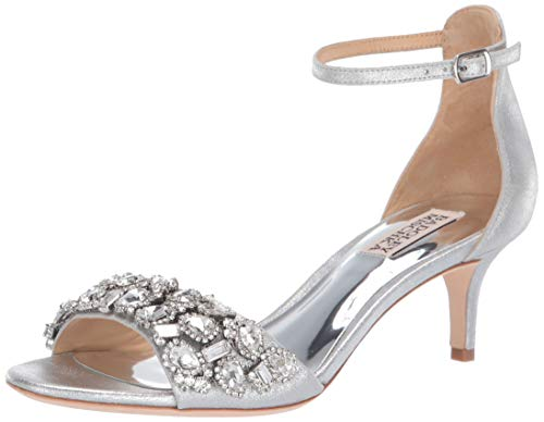 Badgley Mischka Women's Lara II Heeled Sandal, Silver/Metallic Suede, 5.5 M US