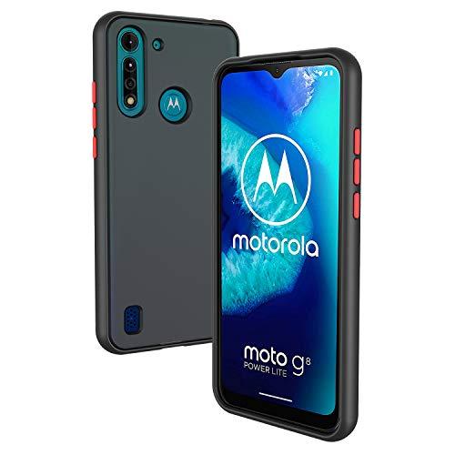 Rssviss Motorola Moto G8 Power Lite Hülle, Motorola G8 Power Lite Handyhülle [Matte Oberfläche] [Premium TPU PC] [Farbig Drucktaste] Stoßfest G8 Power Lite Schutzhülle, Anti-Kratzen Hülle 6.5''Schwarz