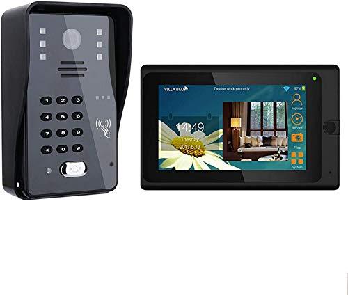 Sistema intercomunicación con videoportero WiFi con cable - Kit timbre monitor 7 'Aplicación soporte Desbloqueo monitoreo sincronización remota y 2000 tarjetas identificación y 2000 contraseñas para