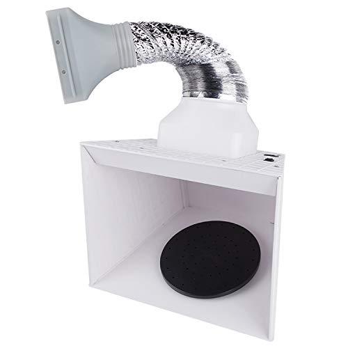 Fengda Portable Airbrush Hobby Spray Booth Spray Box BD-515 con luces LED y plataforma giratoria para rociar modelos, manualidades, decoración de pasteles, maquillaje, uñas, manualidades, etc