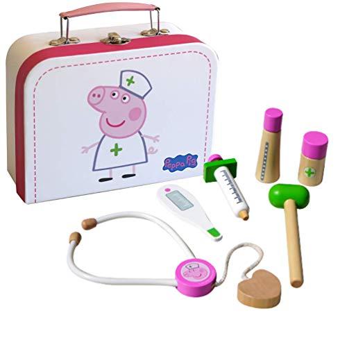 Barbo Toys Valigetta da Dottore per Bambini Peppa Pig con 6 Parti di Giocattoli in Legno, Set di Giochi di Ruolo da 2 Anni per Ragazze e Ragazzi, con Licenza Ufficiale Peppa Pig