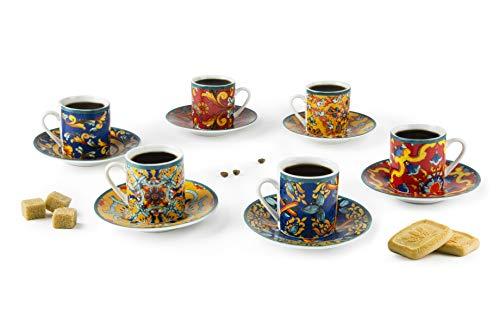 Set mit 6 Espressotassen mit Untertasse Trinacria