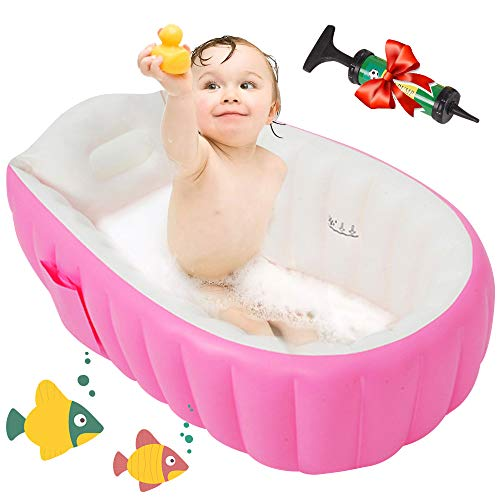 Baby Inflatable Bathtub with Air Pump - Portable Travel Toddler Bathing Tub - Kids Foldable Shower Tub for Girl and Boy, Mini Air Swimming Pool, Pink