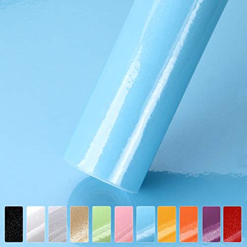 iKINLO Selbstklebende Klebefolie, 0.61 * 5M Blau Möbelfolie mit Glitzer Küchenschrank Aufkleber für Möbel Schrank Tische Wand Folie Tapete Dekofolie