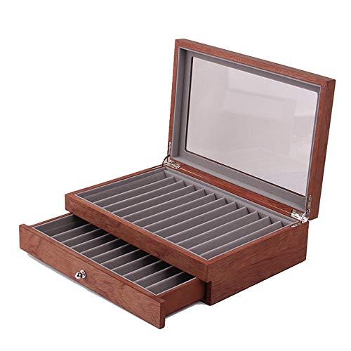 GEEKEN 23 Caja de Madera para BolíGrafo, Caja de BolíGrafo de Almacenamiento, Caja de Almacenamiento, Ventana de Vidrio, Dos Cajas de ExhibicióN y CajóN.1