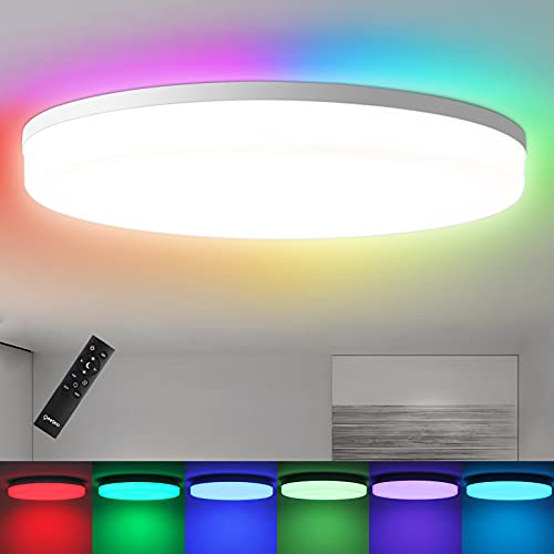 Ceiling Light, LED Flush Mount Ceiling Light Fixtures with Remote, 13inch 36W 3600LM, RGB Dimmable Round Close to Ceiling Light Fixtures, Modern Flushmount Light Fixture for Kids Room, Dining Room
