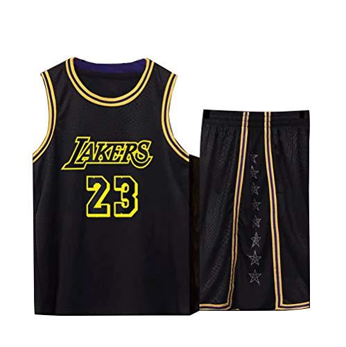 Basketball Trikot für Lebron Raymone James No.23 Lakers Fans Basketball ärmellose Anzug Kinder Erwachsene schwarz lila Sportswear T-Shirt Weste + Shorts jugendlich weiß gelb Sweatshirt-Black-L