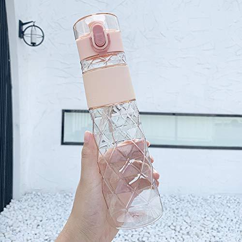 Koreanische kreative einfache Raute Flip Cap Plastikwasserflasche tragbare kleine klare Literatur Paar Tasse Männer und Frauen Verbrühungsfreie Wasserflasche,Farbe:pink/450ml