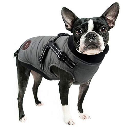 ubest Winter Hundemantel mit Hundegeschirr, Baumwolle Gefütterte Hundejacke Warm Winterjacke Wintermantel für Kleine Hunde, Grau, M