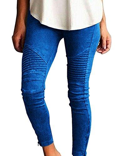 Minetom Donna Jeggings Elastici Leggins Vita Alta Jeans Pantaloni Stretti Ghette da Donne Blu EU XL