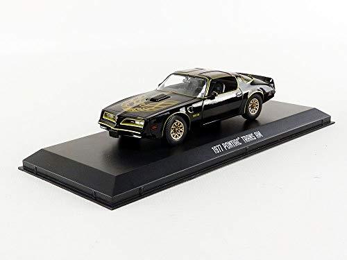 Greenlight 1:43 (86513) Pontiac Firebird Trans Am-Smokey and The Bandit (1977), authentische Dekoration, Filmthemen-Verpackung, schützendes Acryl C, schwarz
