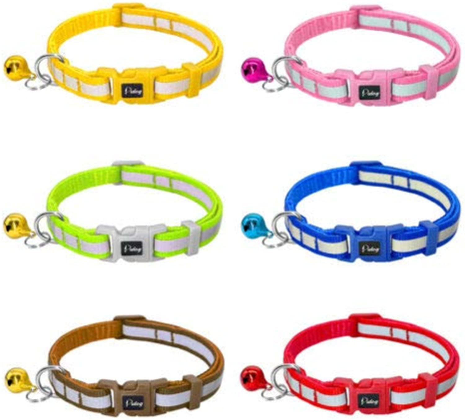 FidgetGear 6 12 18pcs Reflective Small Dog Cat Collar with Bell Soft for Puppy Kitty Kitten Mixed color 18pcs
