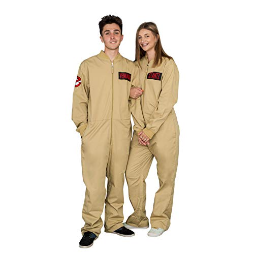 Ghostbusters Adult Costume Zip up Jumpsuit with 4 Interchangeable Patches