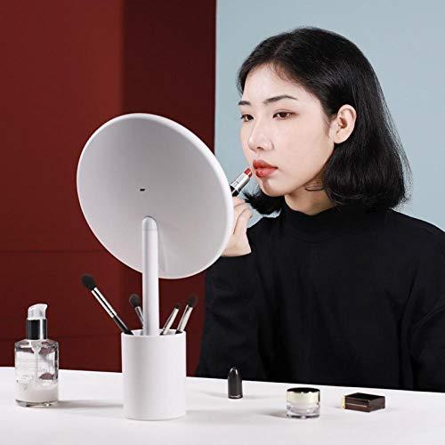 Porte-Stylo Miroir de Maquillage HD lumière du Jour Miroir de Maquillage LED Intelligent avec Lampe de Bureau Portable Miroir de beauté-Blanc