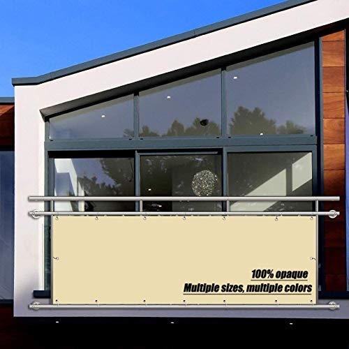 Privacidad de Balcón, Toldo Lateral Exterior, 160g/㎡, Prueba de Viento Anti-Nieve Impermeable para Privacidad de Balcón y Pantallas Protectoras - De Color Crema 0.7x3m