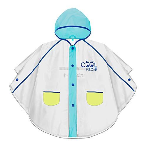 PERLETTI Poncho Impermeable Niño - Chubasquero de Lluvia con Capucha Botones Bolsillos - Transparente con Detalles Azules y Amarillos y Ribete Reflectante - 3-6 Años - EVA Cool Kids