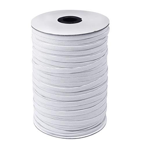 Elastic Band, 200 Yard 1/4' Width Braided Sewing Elastic Band/Rope/Cord/String for Handmade Making, Spool Roll, Stretch, Craft Elastic