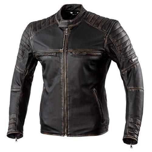 Rebelhorn Giacca da moto in pelle Hunter Pro per moto e uso casual Protezioni per gomiti e spalle in pelle CE livello 2 di alta qualità 2 canali di ventilazione 4 tasche