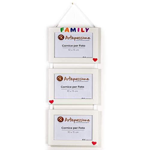 3 Cornici per foto in legno con la scritta Family e decorata con cuoricini, da appendere, misura 10x15 cm Bianca. Ideale per regalo e ricordo.