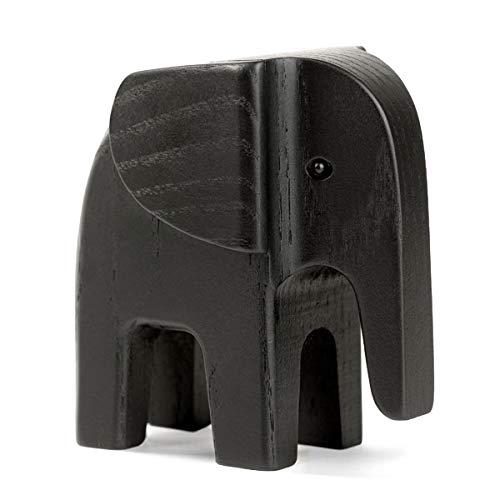Novoform Design - Elephant - Dekofigur, Holzfigur - Elefant - Eschenholz schwarz lackiert - Maße (LxBxH): 11 x 5,8 x 11 cm