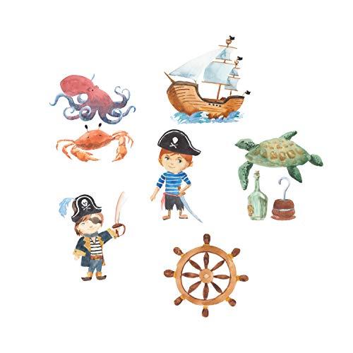 wandmotiv24 Fototapete Kinderzimmer Piraten Tiere Meer, M 250 x 175 cm - 5 Teile, Fototapeten, Wandbild, Motivtapeten, Vlies-Tapeten, Schiff, Krabbe, Krake, Schildkröte M5788