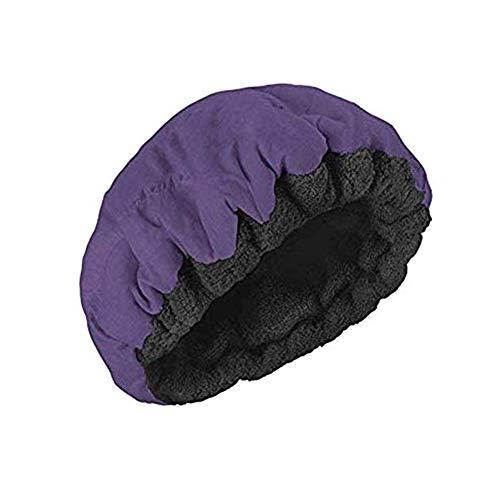 Bonnet Chauffant pour Soins capillaires, Bonnet Thermique de Conditionnement en Profondeur pour Cheveux, Bonnet intérieur à la Vapeur en Coton, Chauffage par Micro-Ondes,Violet