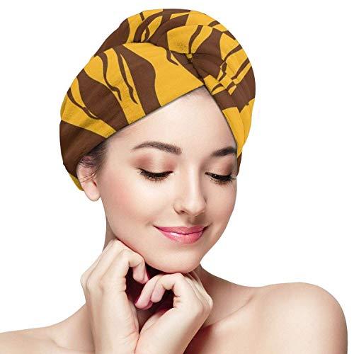 N/A Serviette à Cheveux en Microfibre Turban à séchage Rapide Bonnet de Bain Silhouette de Corps féminins Sexy Design Exotique Savannah Femmes Artwork Print