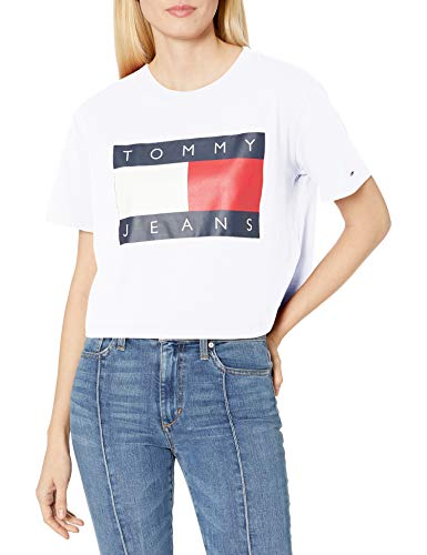 Tommy Hilfiger Women's Classic Cropped T-Shirt, Bright White, Small