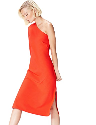 Amazon-Marke: find. Damen One Shoulder-Kleid, Orange (Blood Orange), 38, Label: M