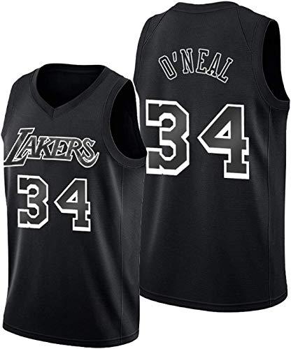 ZMIN Sports Basketball Jersey Lakers NBA 34 O'Neal Sin Mangas Cómoda Malla Tela Transpirable Unisex Basketball Jerseys,M 170~175cm