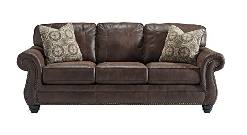Benchcraft - Breville Traditional Faux Leather Sofa - Espresso