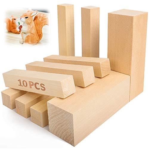 Bloques de tallado de madera de tilo - 5ARTH Kit de tallado / tallado en madera premium para principiantes, 10 piezas con dos de 15 x 5 x 5 cm y ocho de 15 x 2,5 x 2,5 cm