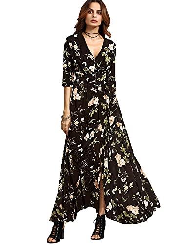Milumia Women's Button Up Split Floral Print Flowy Party Maxi Dress Black Medium