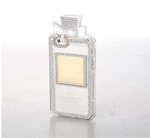 KESHOUJI Fundas para iPhone X XS MAX XR 7 8 Plus 5 5S SE 6 6S Plus Botella de Perfume de Diamantes de imitación de Moda Funda de Silicona con Cadena, Transparente 2, para iPhone XS MAX