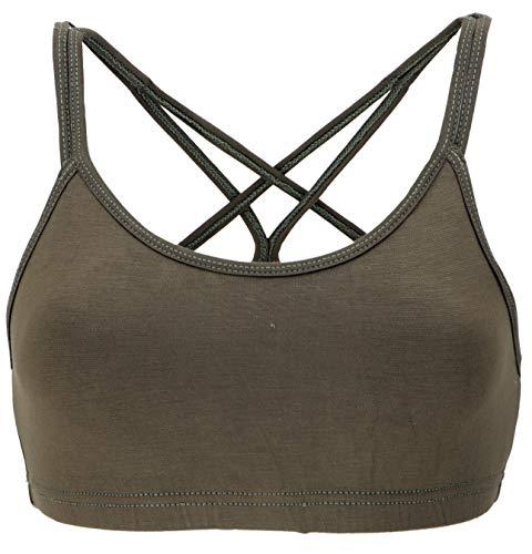 Guru-Shop Goa Psytrance Bikini Top, Boho Top, Yoga Bra, Yogatop, Damen, Olivgrün, Synthetisch, Size:M/L (38), Tops & T-Shirts Alternative Bekleidung