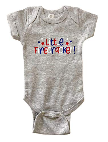 Little Firecracker Bodysuit Fourth of July Baby Outfit Summer Bodysuit (NB) Grey