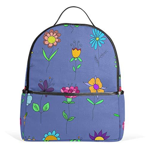 JinDoDo Mochila de dibujos animados con patrón de flores para jardín, mochila de escuela, mochila informal para niñas, niños, adolescentes