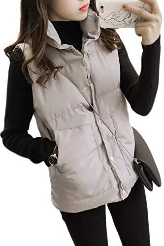 Crystallly vrouwen Down Vest Mouwloze Kleur Effen Vest Winter Stijlvolle Herfst Unieke Coltrui Voorkant Pocket Knopen Casual Bovenkleding Comfortabele Jonge Mode Jas