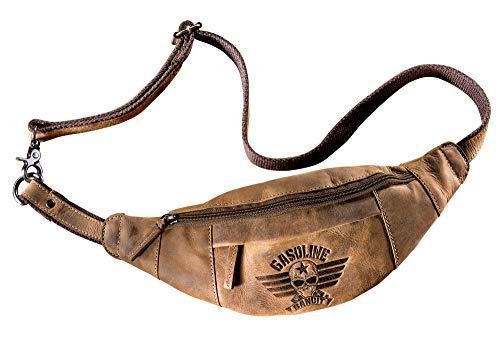 Biker Gürteltasche Bauchtasche Hüfttasche aus Echtleder braun